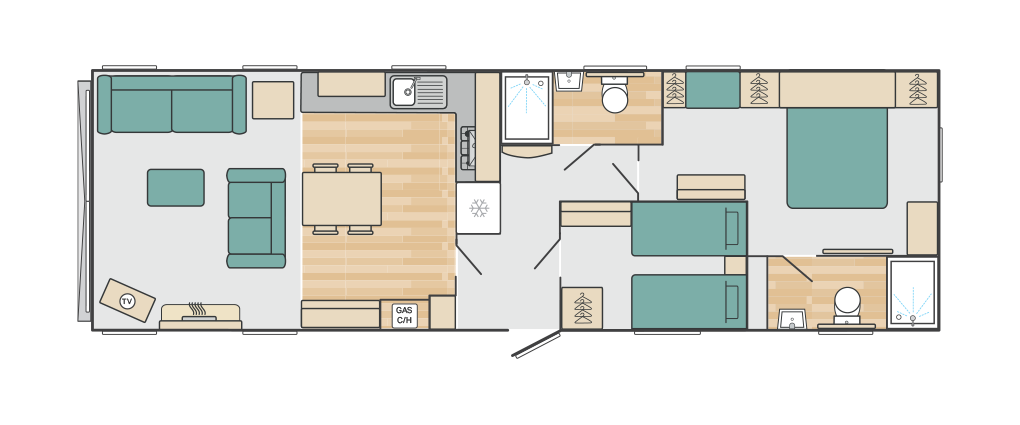 Click here to view the floorplan of this luxury caravan available for sale at Tayport Links Caravan Park, a luxury holiday park near St Andrews, East Neuk, Northeast Fife, Scotland
